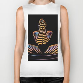 1183s-MAK Nude Abstract Striped Zebra Woman Hands Over Face by Chris Maher Biker Tank
