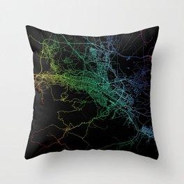 Skopje, North Macedonia, City, Map, Rainbow, Map, Art, Print Throw Pillow