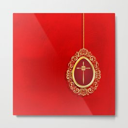 Beautiful red egg with gold cross on rich vibrant texture Metal Print