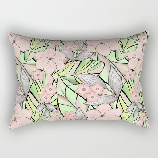 Delicate tropical floral pattern. Rectangular Pillow