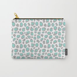 Leopard Animal Print Aqua Blue Gray Grey Spots Carry-All Pouch
