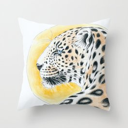 Leopard And The Sun Watercolor Ink Art Throw Pillow