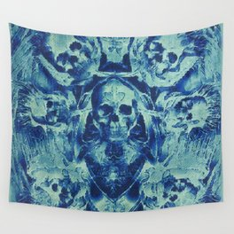 Blue Skulls (Abstract Surreal Blue Halloween Ghost Hour) Wall Tapestry