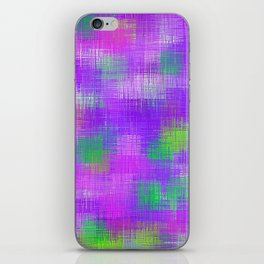 purple and green plaid pattern iPhone Skin