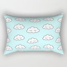 Clouds dreaming in blue with closed eyes and eyelashes Rectangular Pillow