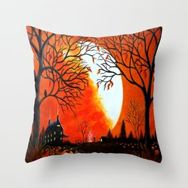 """Burning Leaves"" Autumn/fall art Throw Pillow"