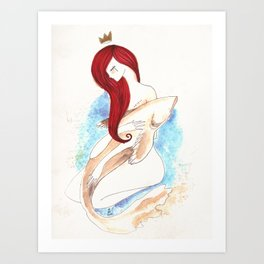 Girl and fish in love (desire) Art Print