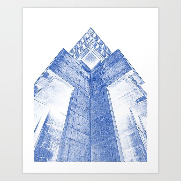 Modern building architecture blueprint art print by asarstudios modern building architecture blueprint art print malvernweather Image collections