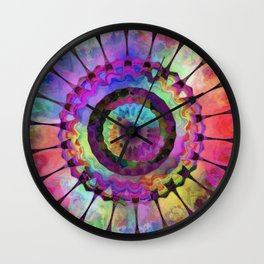 Rainbow Daisy Kaleidoscope Wall Clock