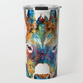 Colorful Donkey Art - Mr. Personality - By Sharon Cummings Travel Mug