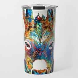 Colorful Donkey Art - Mr. Personality - By Sharon Cummings Travel Mug