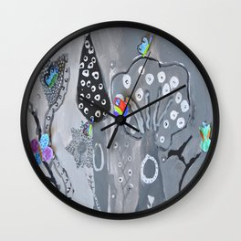 Paper Painting Forest #society6 Wall Clock