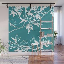Maple leaves teal Wall Mural