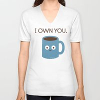 psycho V-neck T-shirts featuring Coffee Talk by David Olenick