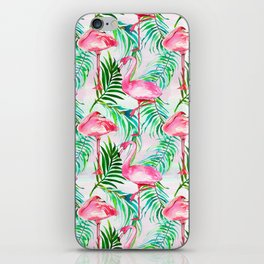 Pink forest green tropical flamingo watercolor floral iPhone Skin