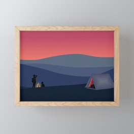 Evening Camping, Camp Fire Framed Mini Art Print
