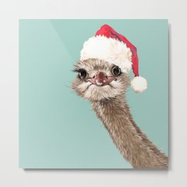 Christmas Ostrich in Green Metal Print