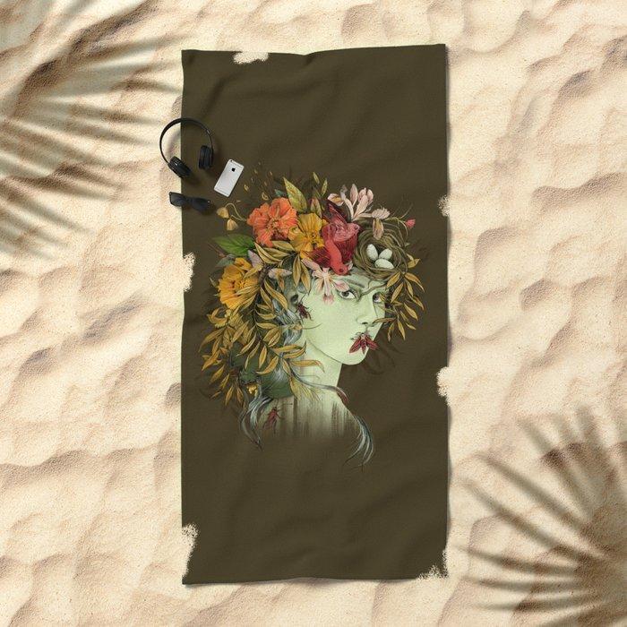 Persephone, goddess of Spring Beach Towel