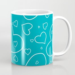 Turquoise and White Hand Drawn Hearts Pattern Coffee Mug