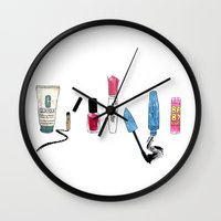 make up Wall Clocks featuring Make Up. by Elena O'Neill