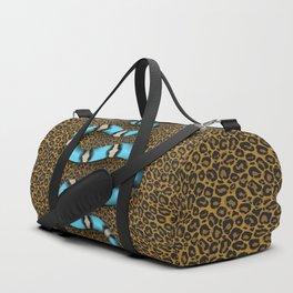 Kundalini blue snake on leopard Duffle Bag