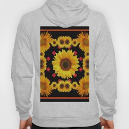 Black Western Blanket Style Sunflowers Hoody