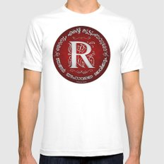 Joshua 24:15 - (Silver on Red) Monogram R White MEDIUM Mens Fitted Tee