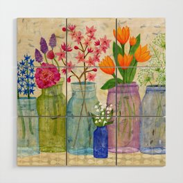 Springs Flowers in Old Jars Wood Wall Art