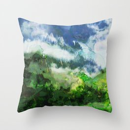 Snowy Mountain Peaks Throw Pillow