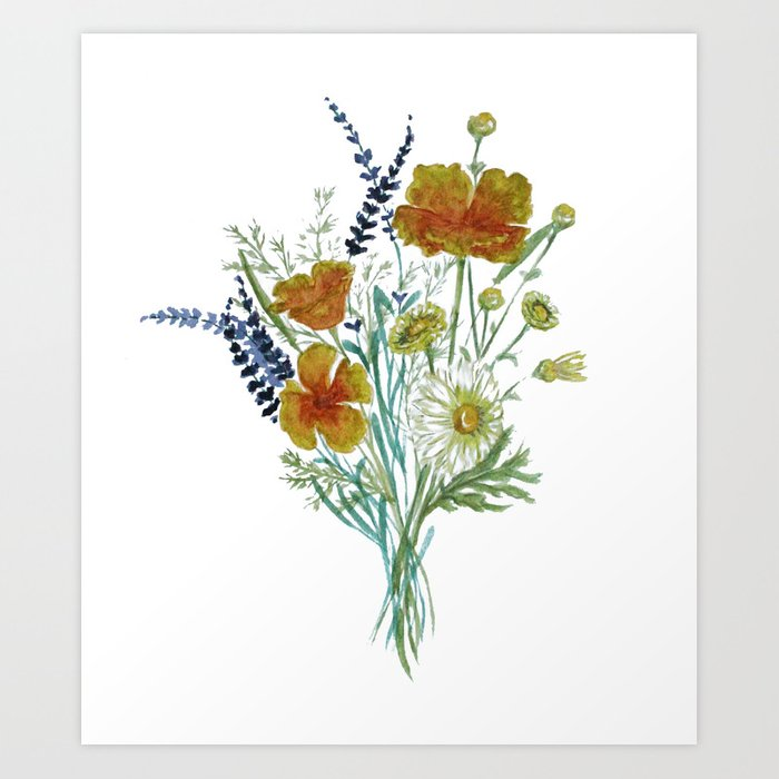 California Wildflower Bouquet Art Print by rosiehavener | Society6