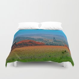 A hunting perch, a village and some vivid scenery Duvet Cover