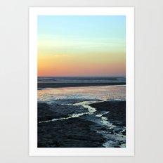sunset over beach Art Print
