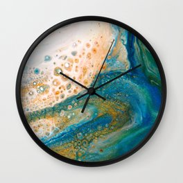 Panning for Gold - Abstract Acrylic Art by Fluid Nature Wall Clock