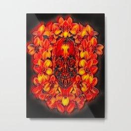 Voodoo Fire Skull Metal Print