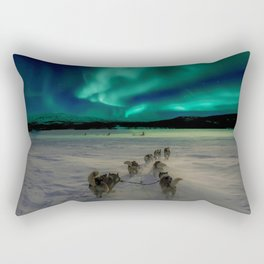 Winter Northern Lights Dog Sled (Color) Rectangular Pillow