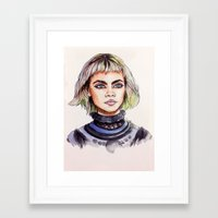 marc jacobs Framed Art Prints featuring Cara/Marc Jacobs 2014 by vooce & kat