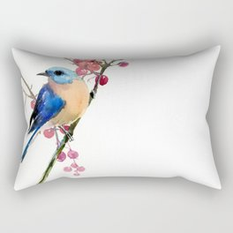 Bluebird and Berries Rectangular Pillow