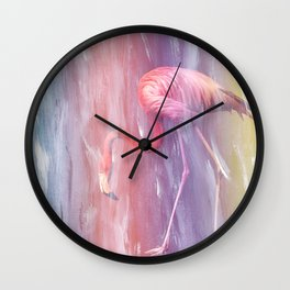 Flamingo in the Colored Rain #1 #tropical #decor #art #society6 Wall Clock