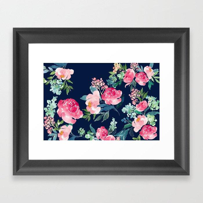 Navy and Pink Watercolor Peony Gerahmter Kunstdruck