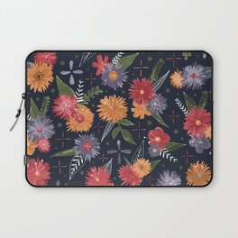 bright floral pattern on navy Laptop Sleeve