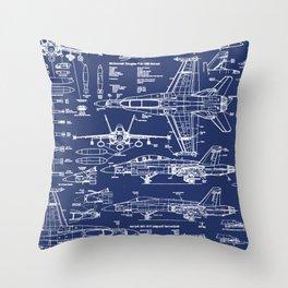 F-18 Blueprints Throw Pillow