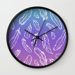 Colors of the Wind Feathers Wall Clock