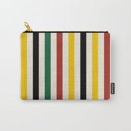 Rustic Lodge Stripes Black Yellow Red Green Carry-All Pouch