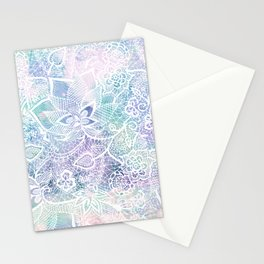 Modern purple lavender turquoise watercolor floral lace hand drawn illustration Stationery Cards