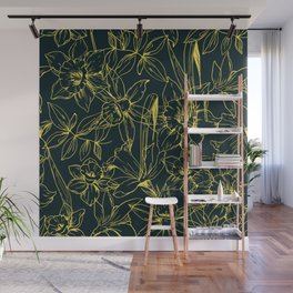 Hand drawn daffodils flowers seamless pattern, Template of greeting tropical leaves and flowers Wall Mural