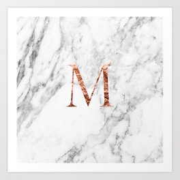 Monogram rose gold marble M Art Print