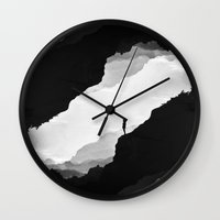 clouds Wall Clocks featuring White Isolation by Stoian Hitrov - Sto