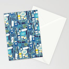 Wash Your Hands - cute cosmetics print on blue background Stationery Cards
