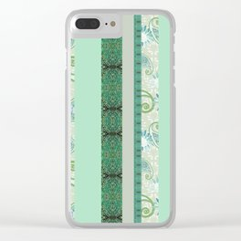 French Stripe Green/Grey Clear iPhone Case
