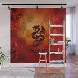 Awesome dragon with floral elements Wall Mural